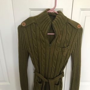 Green military style tie sweater